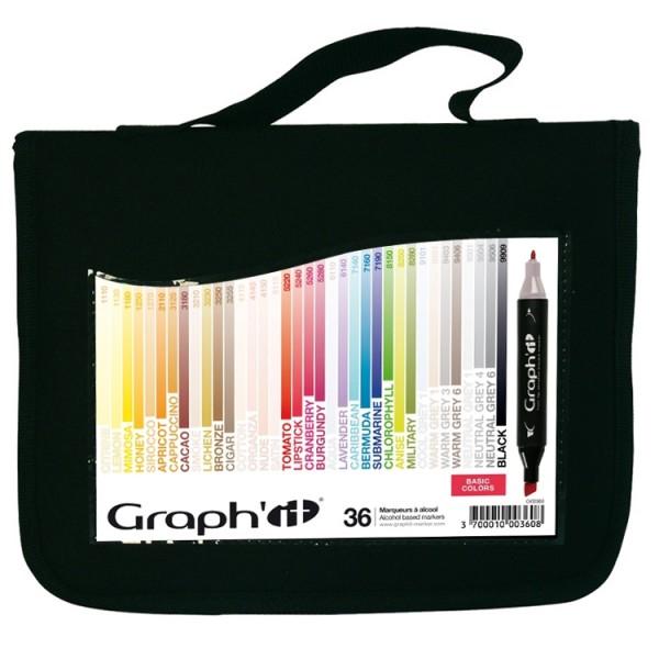 Graph-It marker 36 set met etui Alcohol Marker