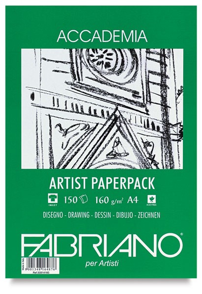Accademia Tekenpapier Pak A4 160GR.150Vel groene verpakking Fabriano