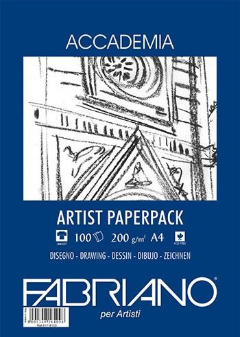 Accademia Tekenpapier Pak A4 200GR.100 Vel blauwe verpakkingen Fabriano