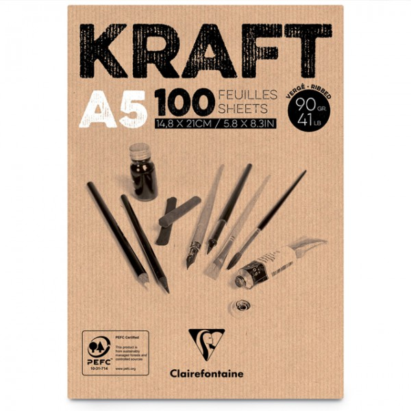 KRAFT bruin papier A5 100vel 90gr Clairefontaine