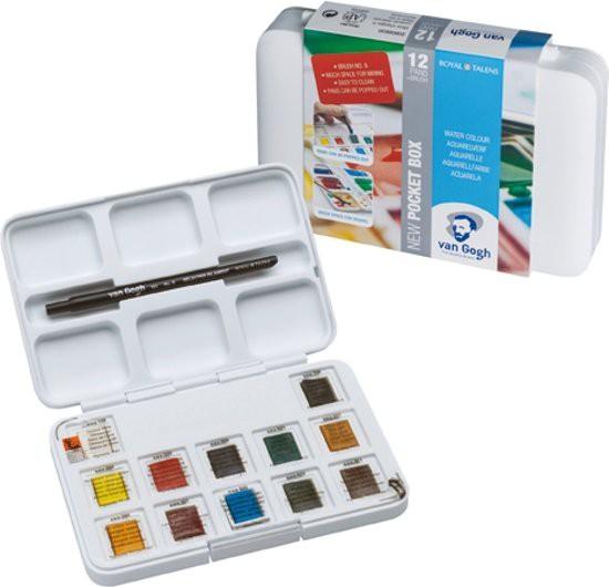 Pocketbox Basis kleuren 12 napjes Aquarel verf Van Gogh Set