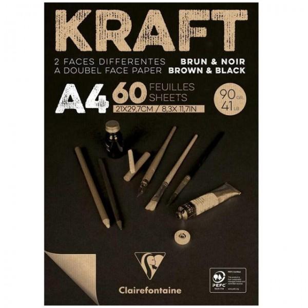 KRAFT zwart papier A4 60vel 90gr Clairefontaine
