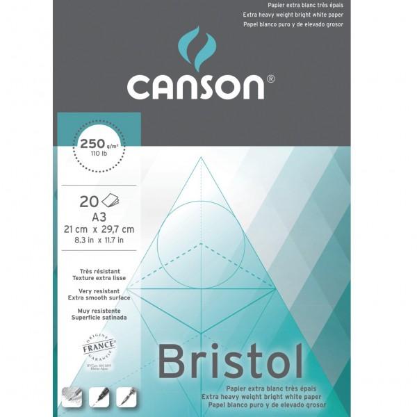 Bristol papier blok A3 20 vel wit, glad en dik (250 gr)